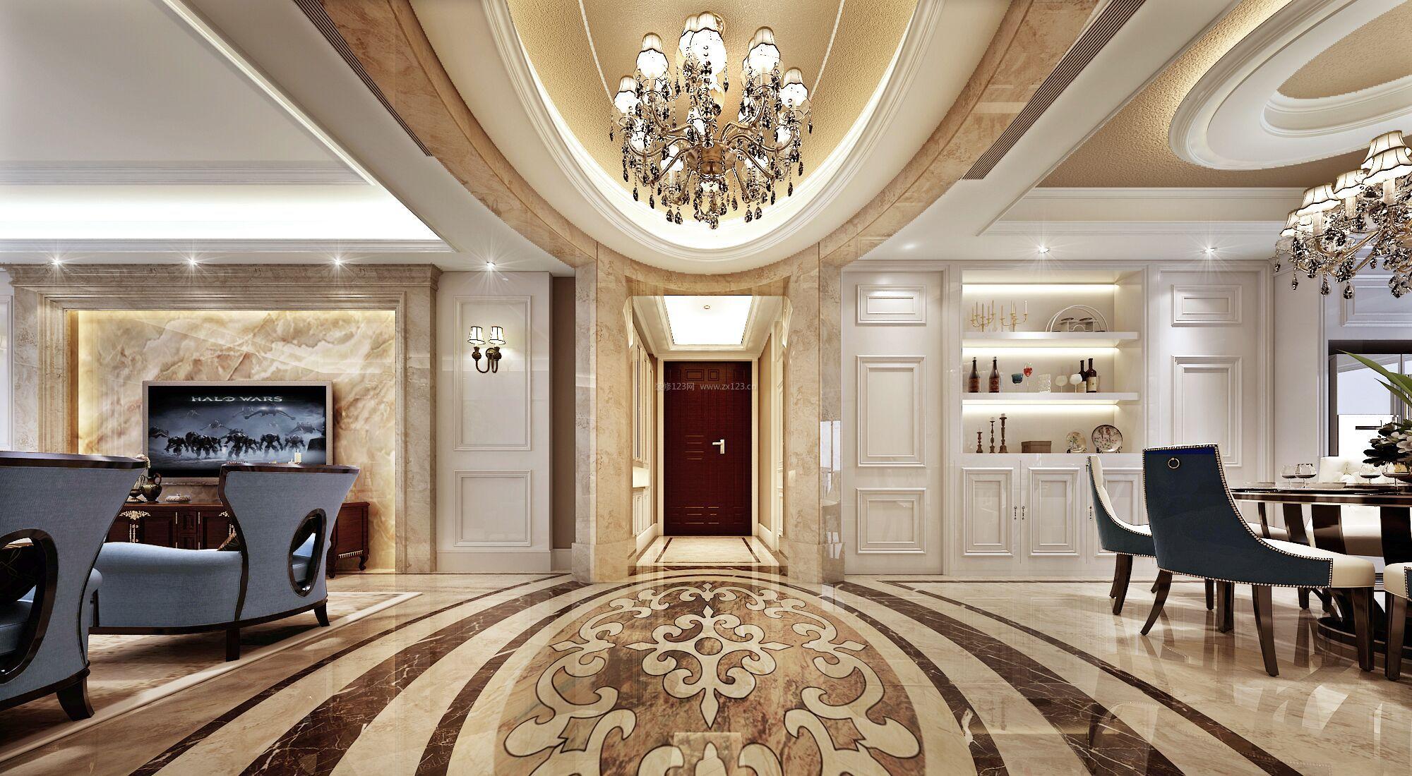 欧式古典风格别墅拼花地砖装修效果图片图片