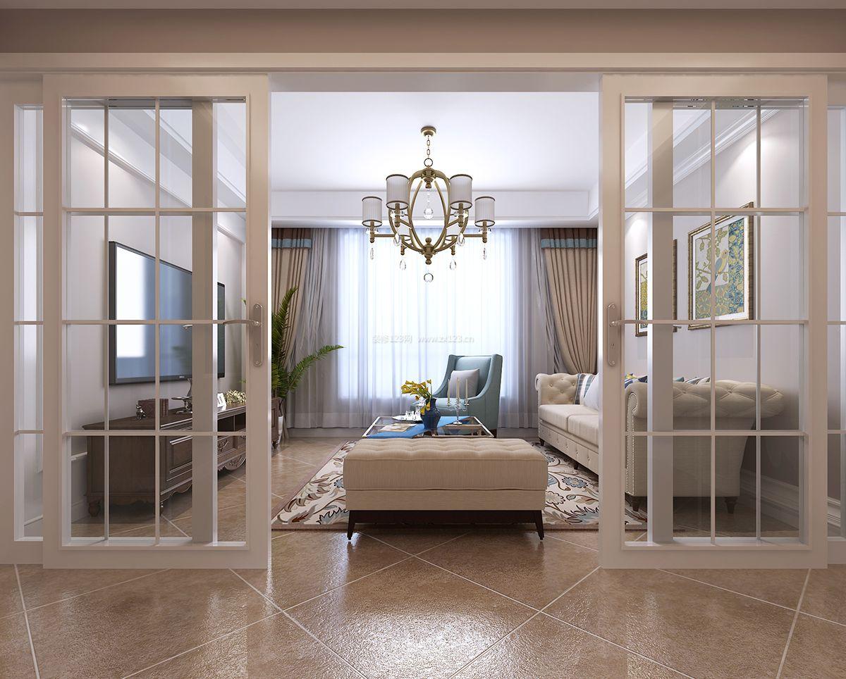 简约北欧风格客厅玻璃推拉门隔断装修效果图