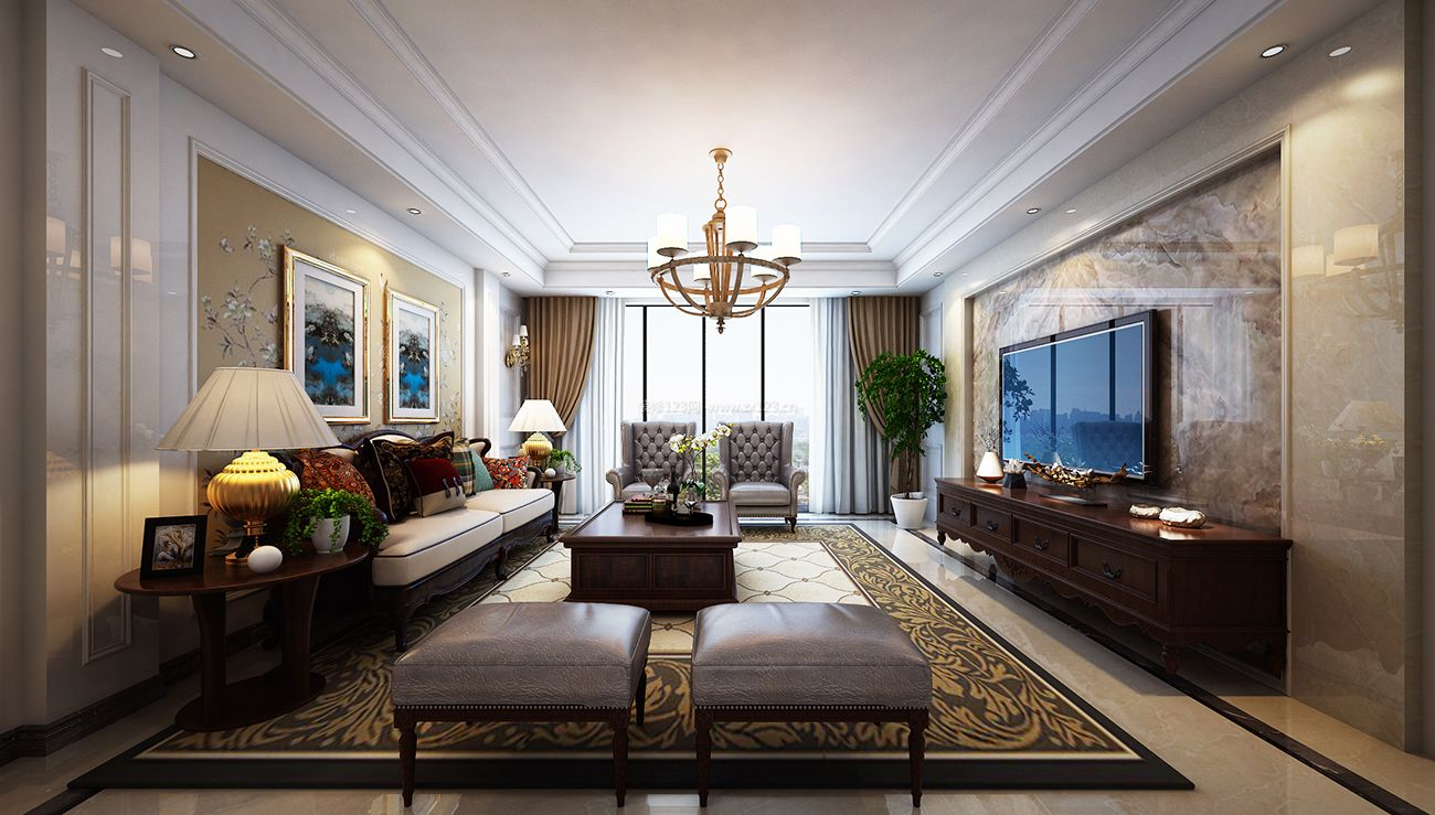 美式客厅大理石电视背景墙装修效果图大全2017图图片