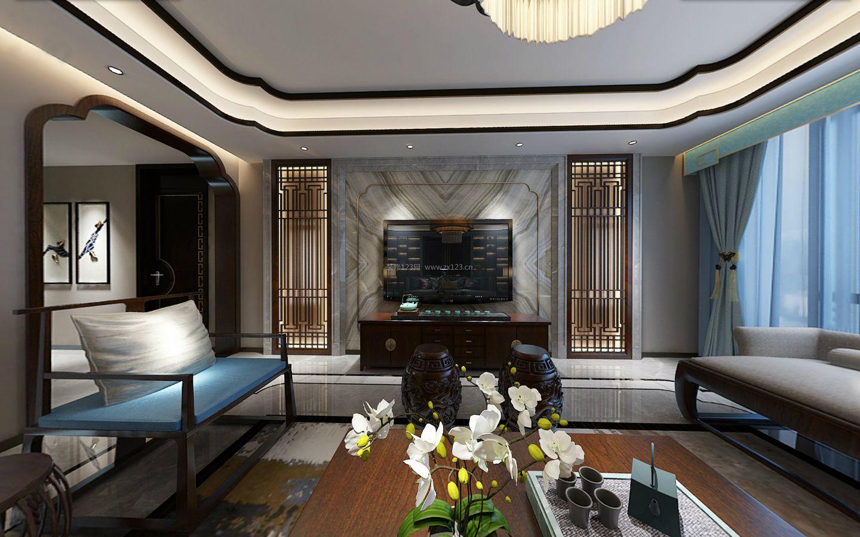 新中式家装风格客厅石材电视墙装修效果图图片