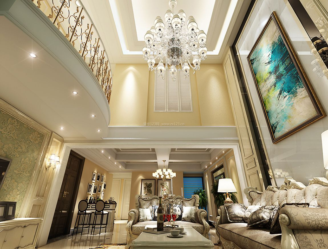复式楼客厅欧式沙发背景墙装修效果图欣赏图片