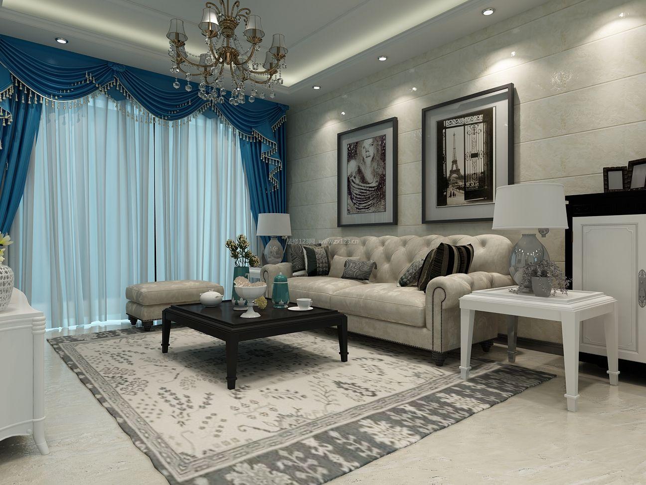简欧小户型客厅瓷砖背景墙装修效果图图片