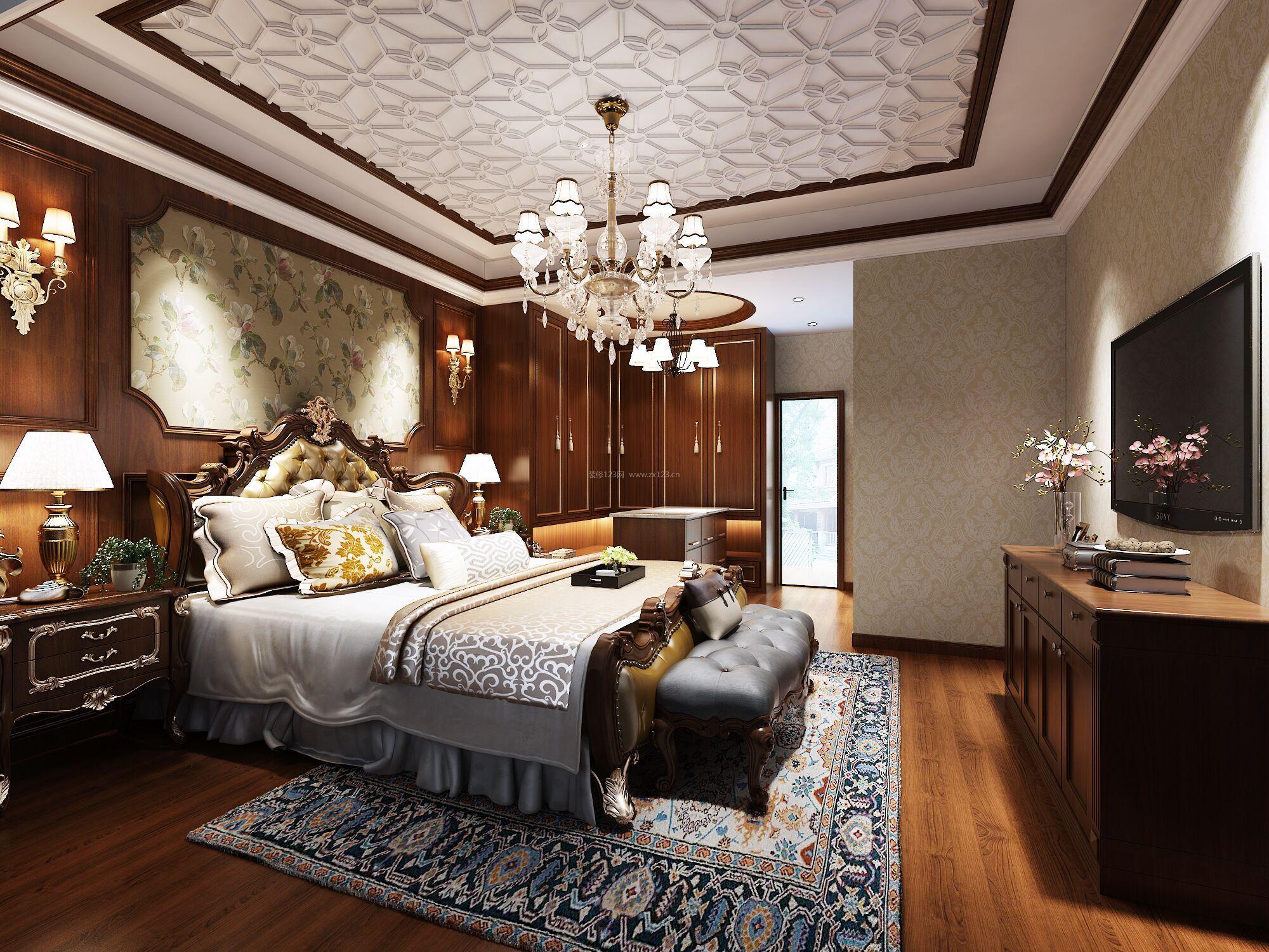 纯美式风格卧室背景墙设计装修效果图图片