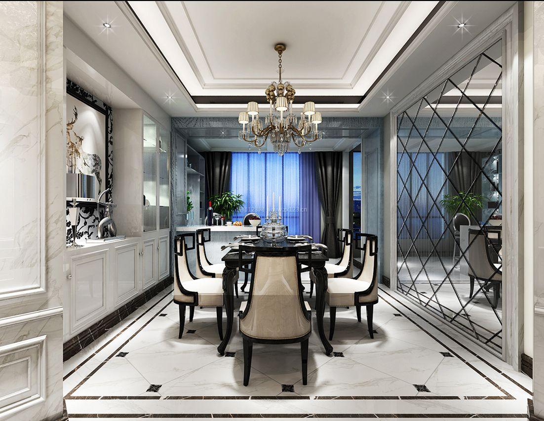欧式新古典风格餐厅镜面背景墙装修效果图片图片