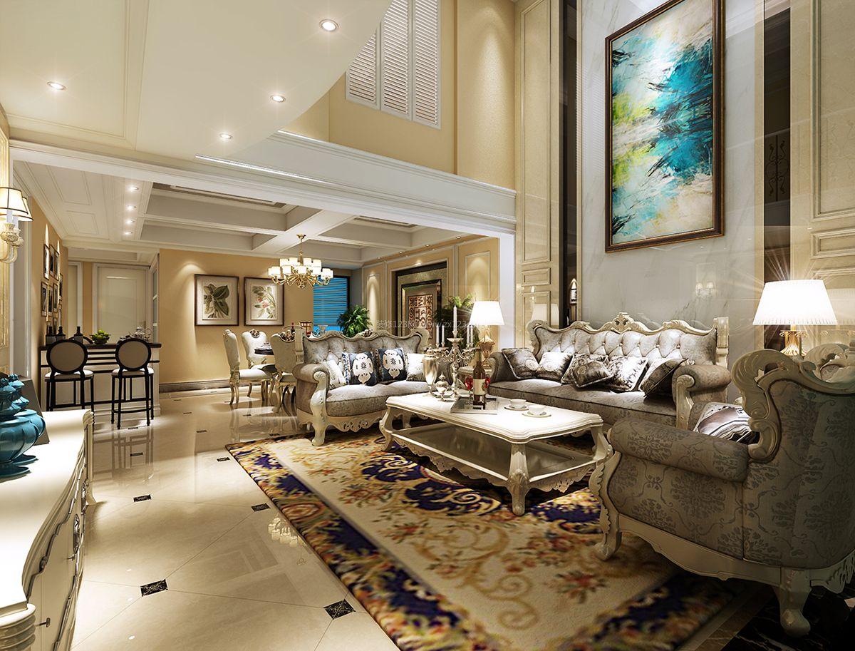欧式复式楼客厅地毯装修效果图片图片