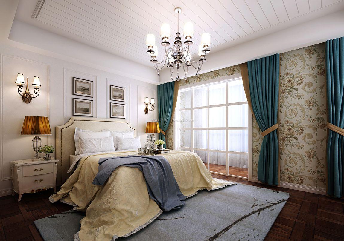 简约美式风格女孩卧室窗帘装修效果图图片