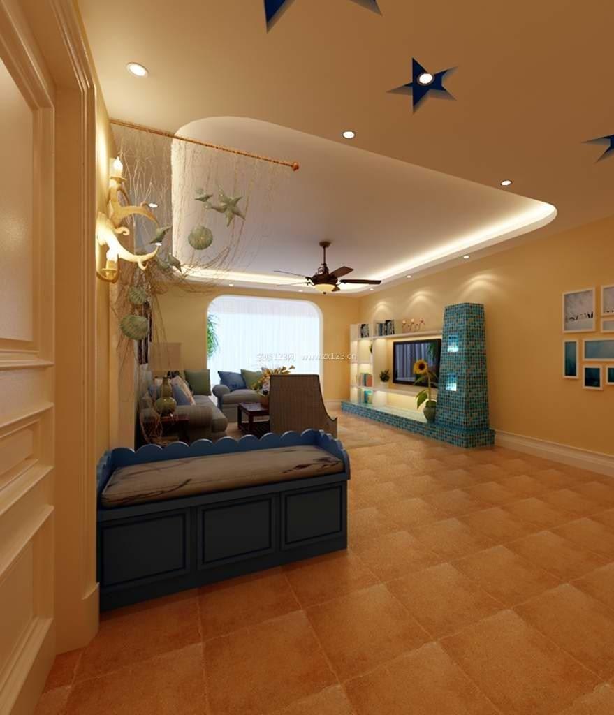 地中海公寓装修走廊过道吊顶效果图