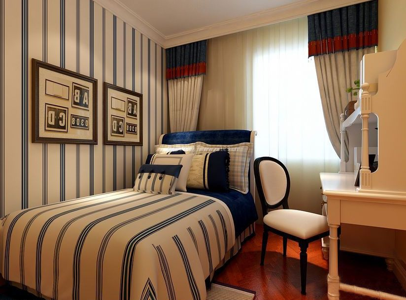 小美式卧室竖条壁纸装修效果图