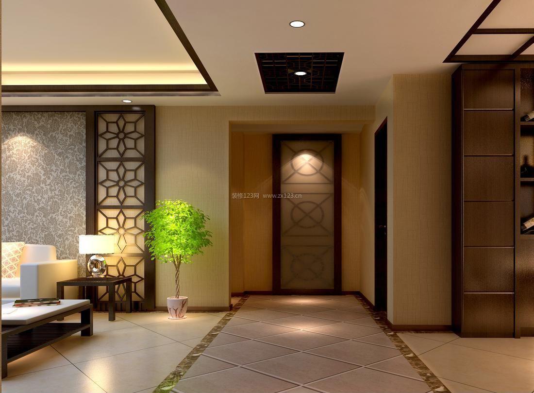 家装效果图 中式 简约中式风格走廊过道吊顶装修效果图片 提供者