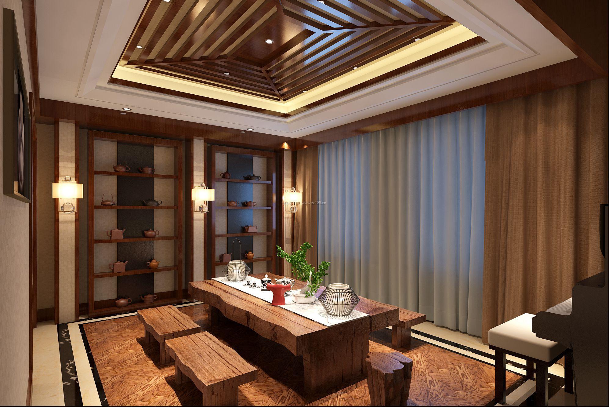新中式别墅茶室装修效果图大全