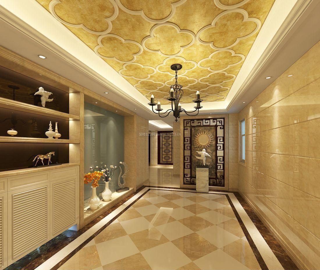 别墅欧式风格走廊过道吊顶装修效果图图片