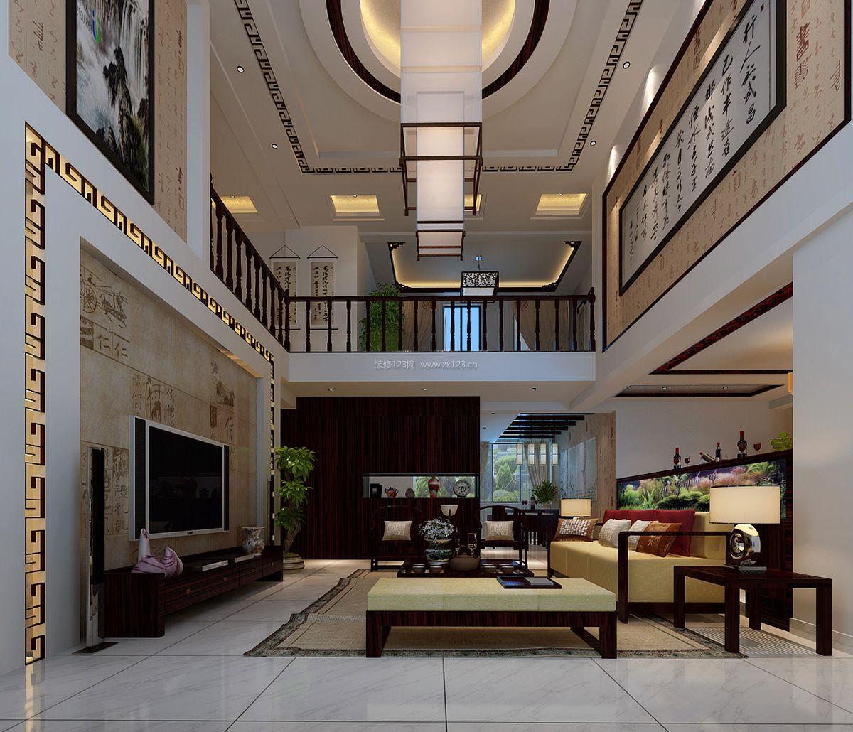 中式别墅客厅电视墙设计装修效果图片