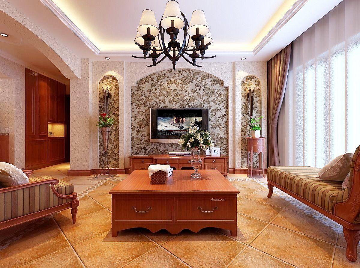 欧式家装设计影视墙壁纸效果图片大全_装修123效果图图片