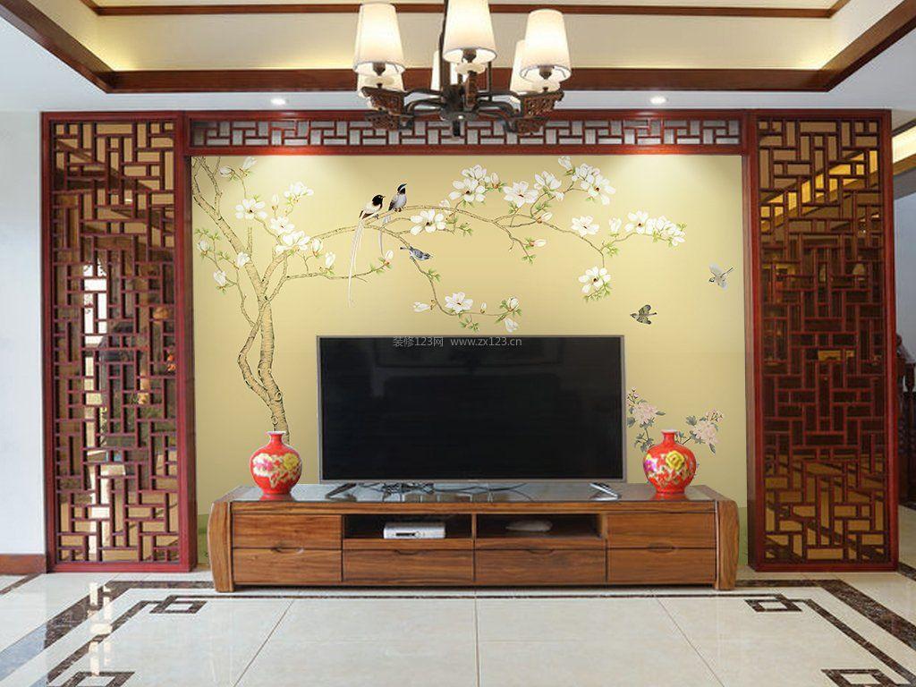 新中式风格客厅影视墙壁纸装修效果图片大全图片