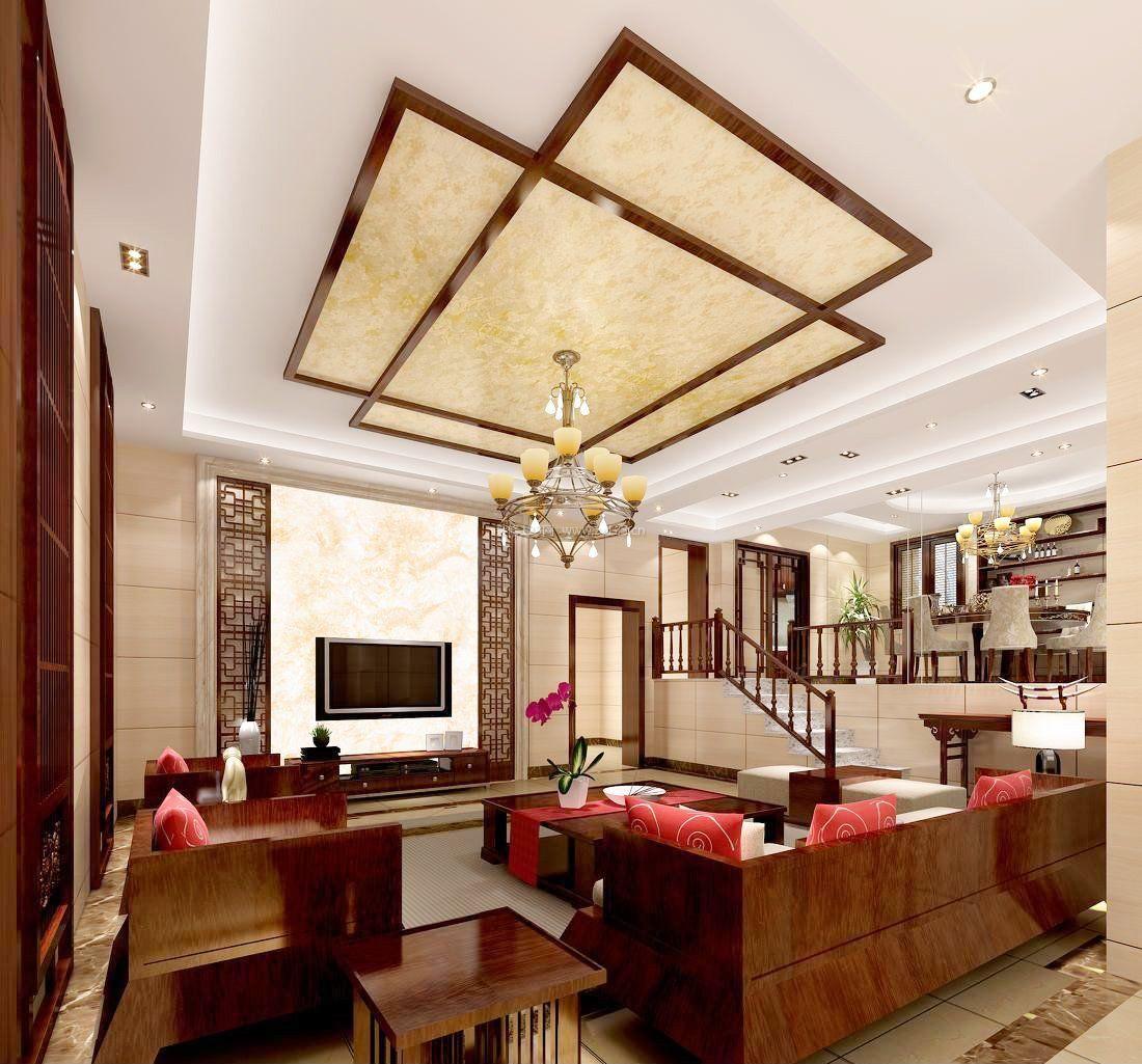 中式别墅客厅影视墙壁纸图片大全图片