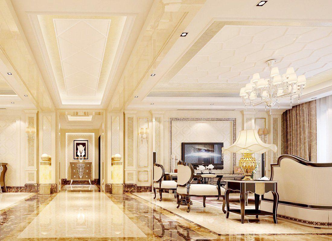 现代简欧别墅客厅设计装修样板间_装修123效果图图片