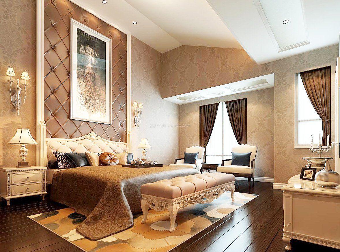 现代简欧装修样板间主卧室背景墙图片