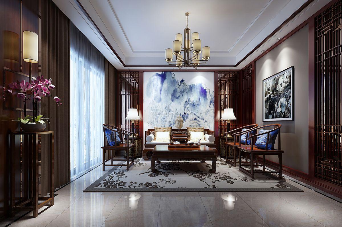新中式别墅客厅沙发背景墙设计效果图片_装修123效果图图片
