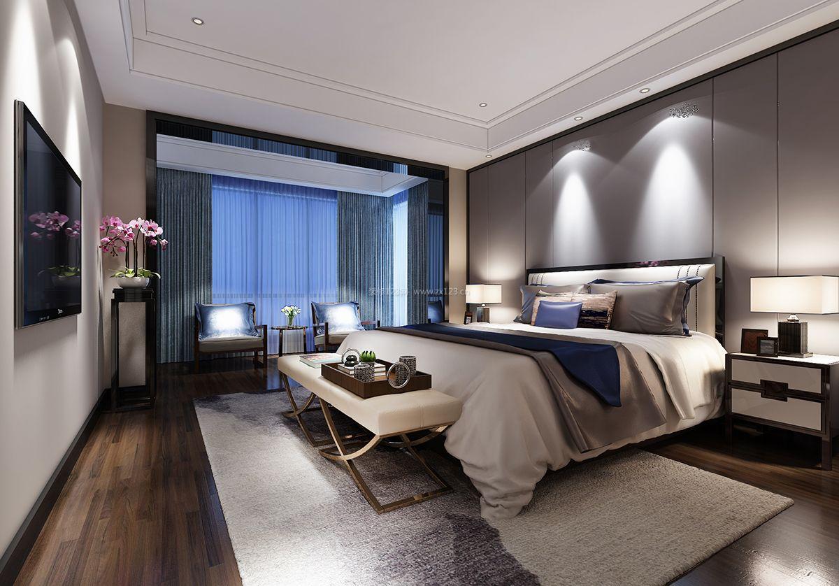 新中式卧室简约背景墙设计装修效果图图片