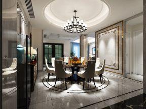 新中式风格餐厅装修效果图 圆形吊顶装修效果图片图片