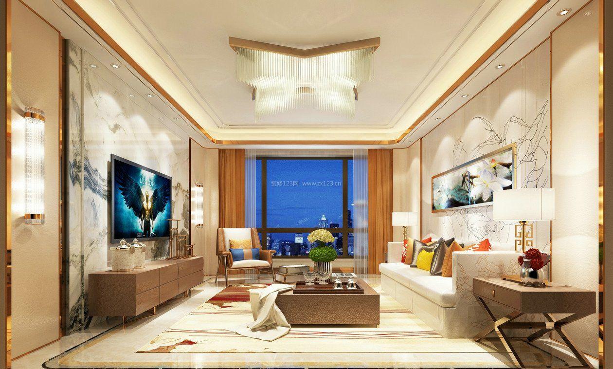 2017新中式客厅电视墙背景墙纸装修效果图图片
