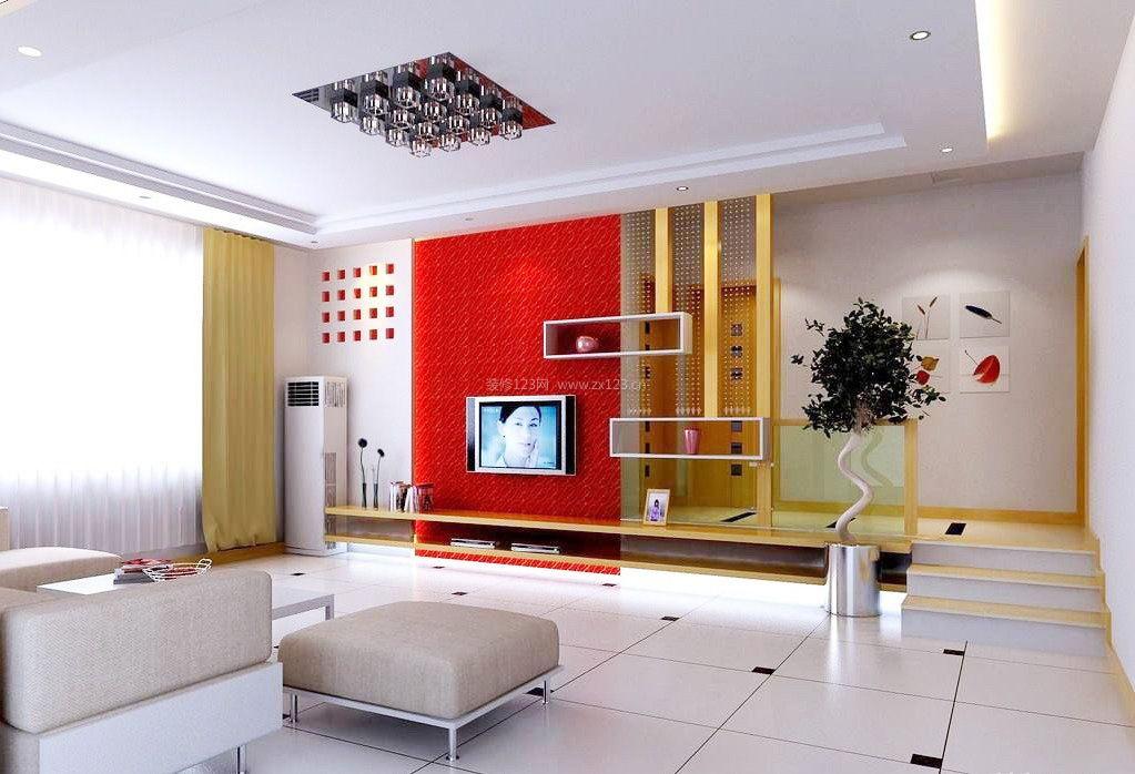 客厅电视墙背景墙红色壁纸装修效果图片