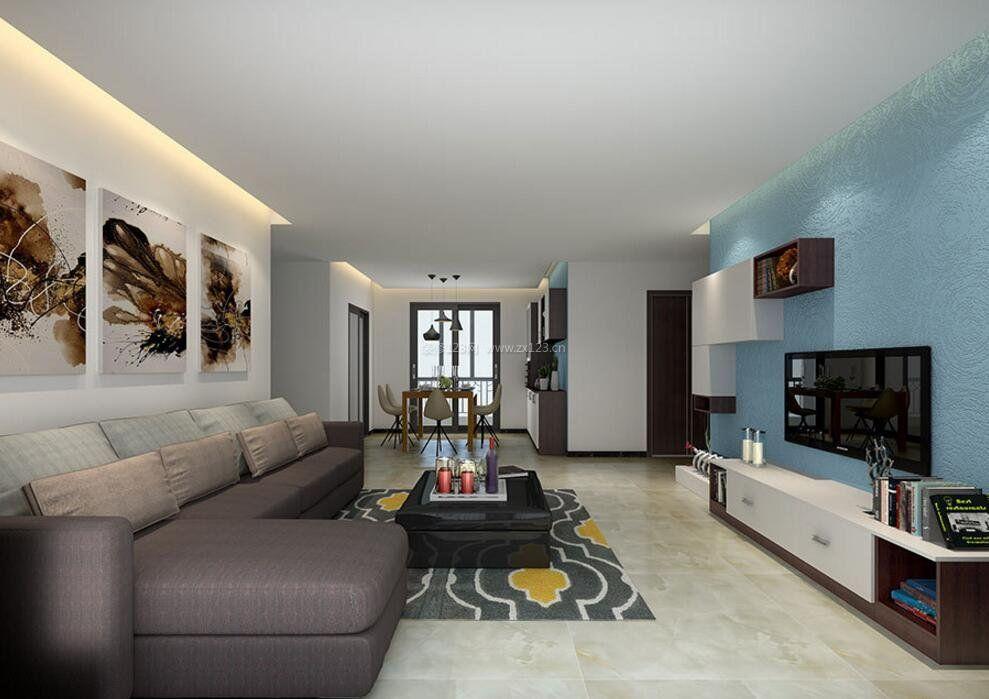 现代简约客厅电视墙背景墙面墙纸颜色_装修123效果图