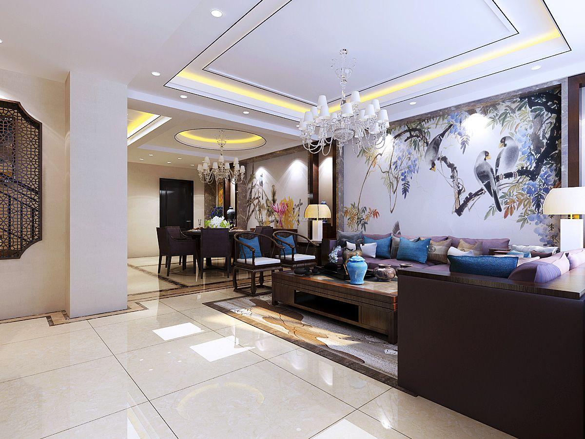 2017新中式客厅背景墙画装修效果图图片