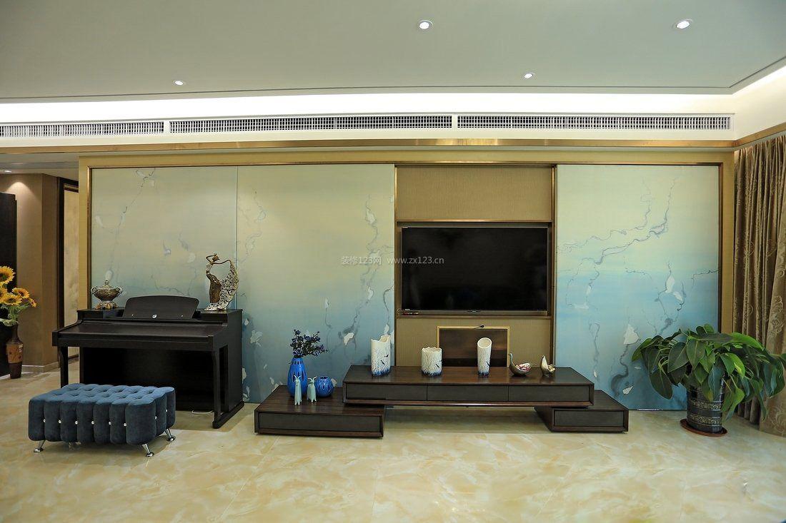 古典中式客厅电视墙背景墙纸装修效果图图片
