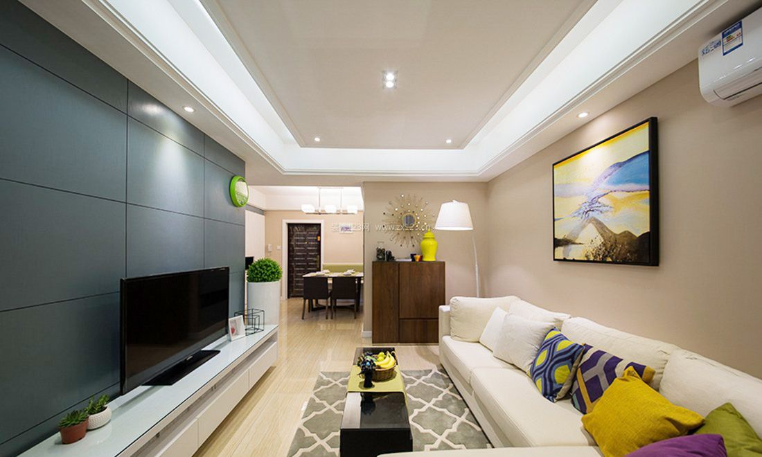 北欧风格 的客厅电视墙背景墙纸装修图片