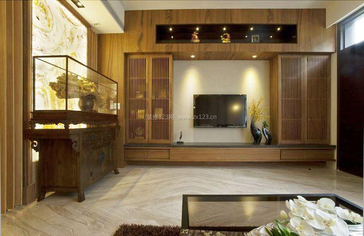 中式客厅电视墙背景墙纸装修效果图图片