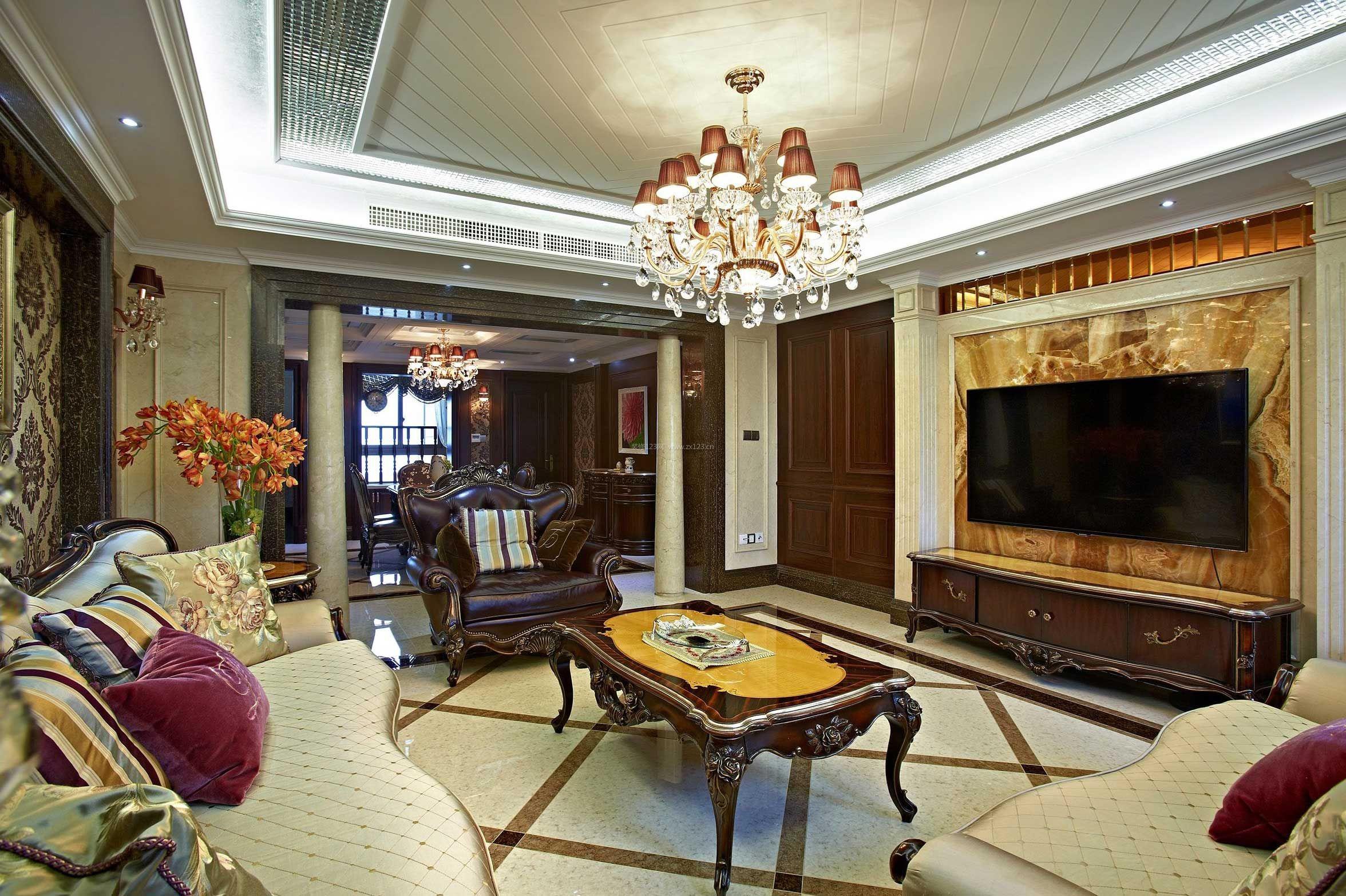 家装效果图 欧式 欧式古典客厅吊顶设计装修效果图片 提供者:   ←图片