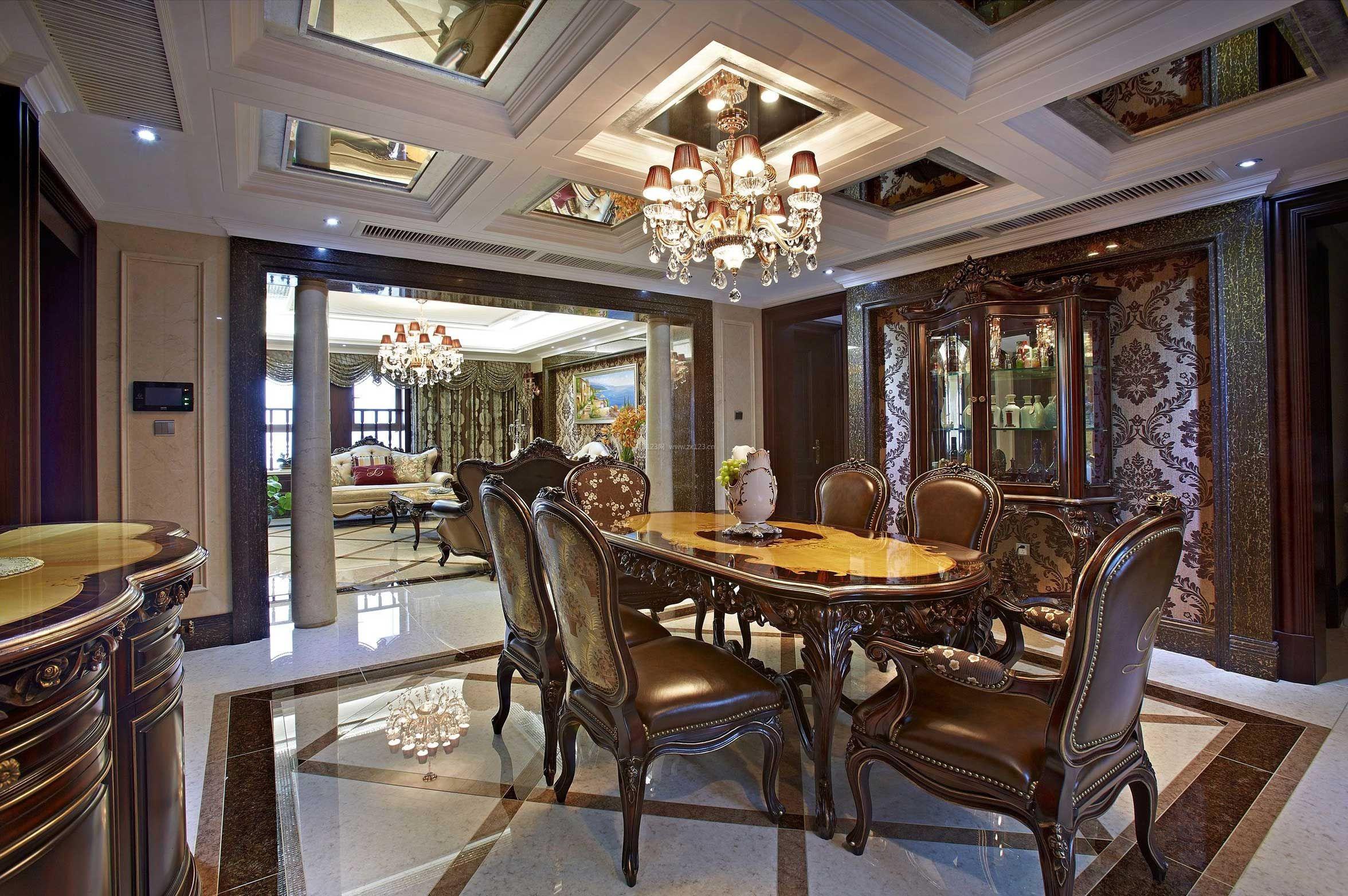 欧式古典风格别墅餐厅吊顶设计装修效果图