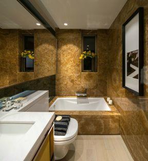 现代卫生间装修效果图大全 大理石包裹浴缸装修效果图片