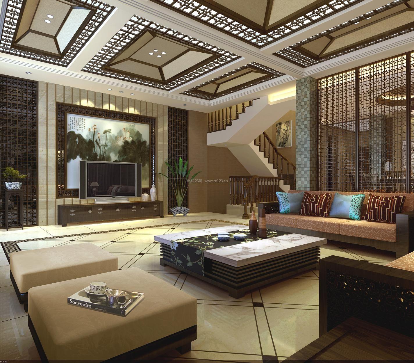 家装效果图 中式 新中式别墅客厅吊顶设计装修效果图 提供者:   ←图片