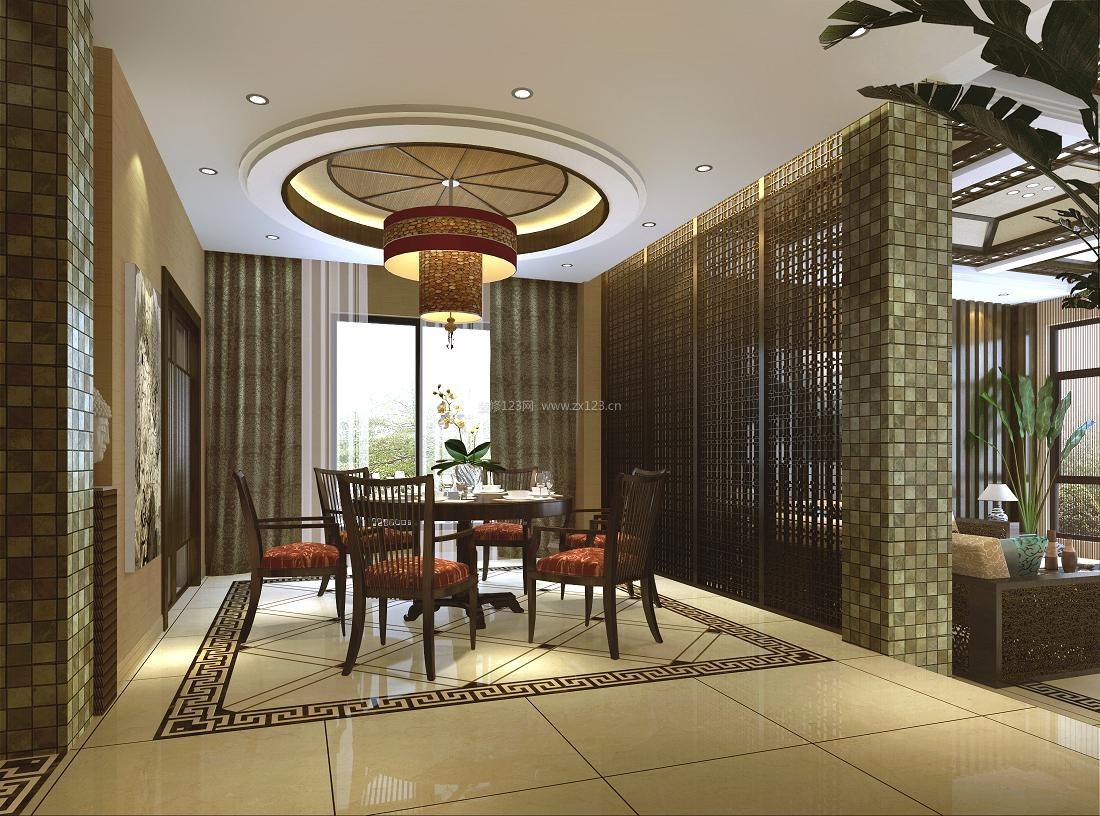 新中式别墅漂亮餐厅吊顶装修效果图