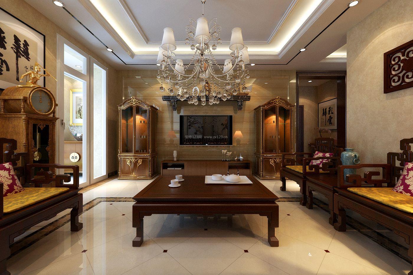 新中式风格客厅微晶石电视背景墙装修效果图图片
