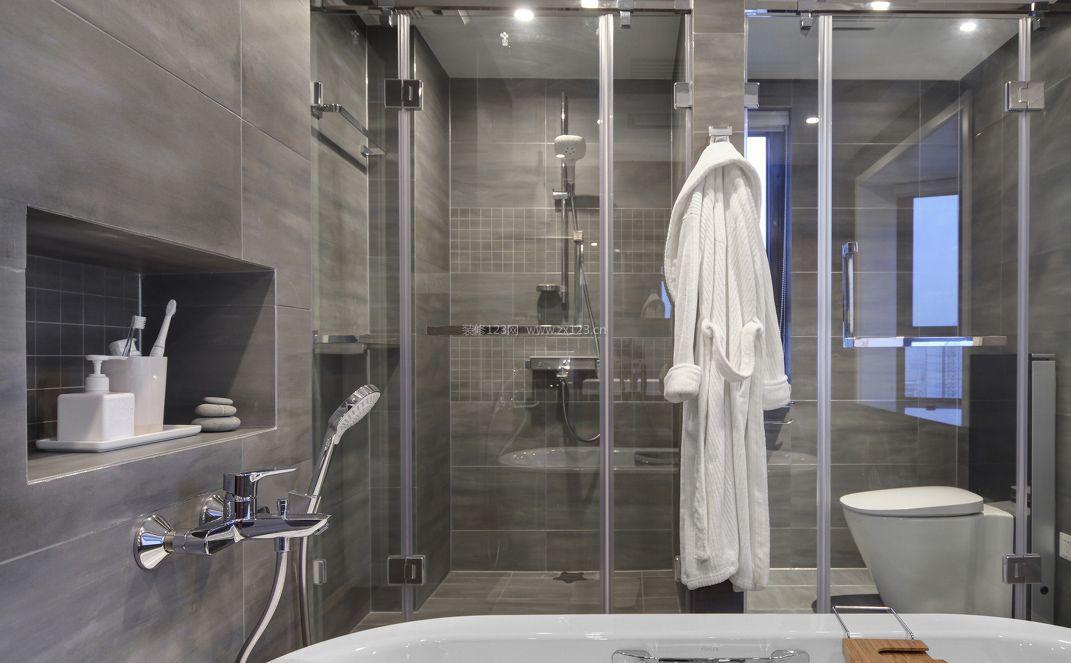 小平米房子浴室玻璃门装修图片_装修123效果图