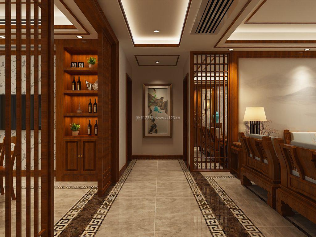 简约中式风格室内地板砖装修效果图