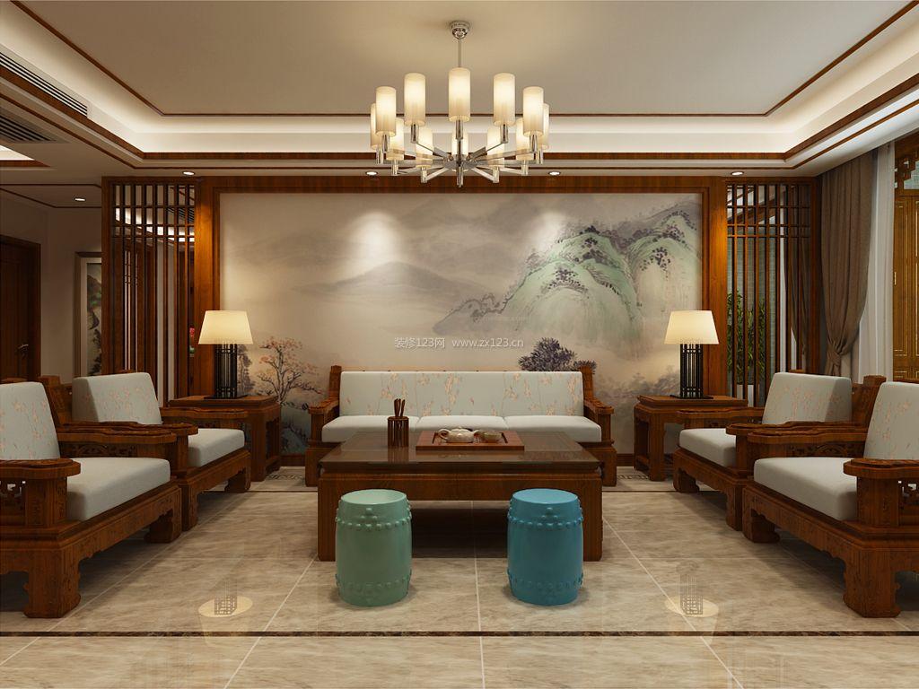 新中式客厅装修效果图_现代中式装修