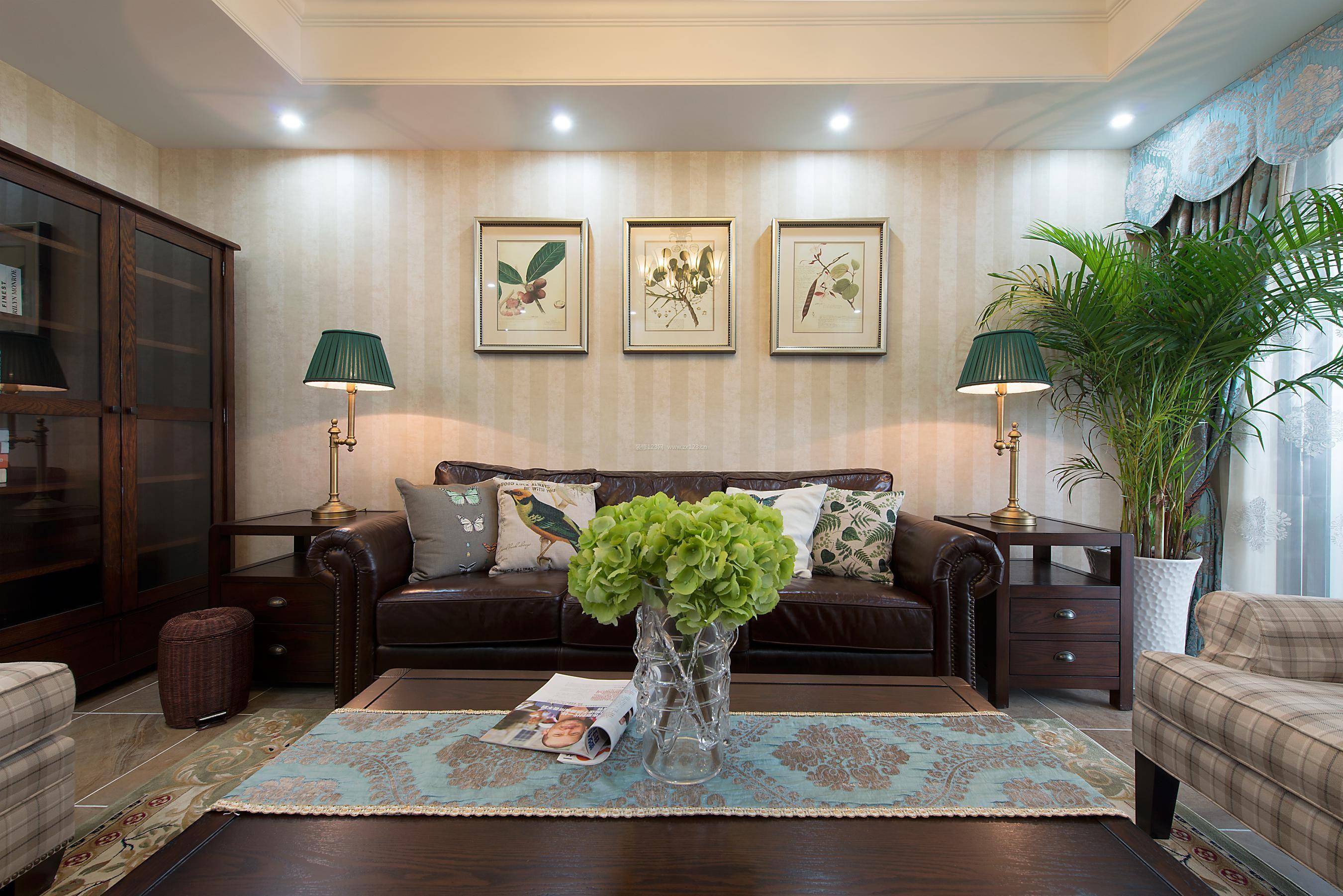 美式壁画沙发背景墙效果图图片