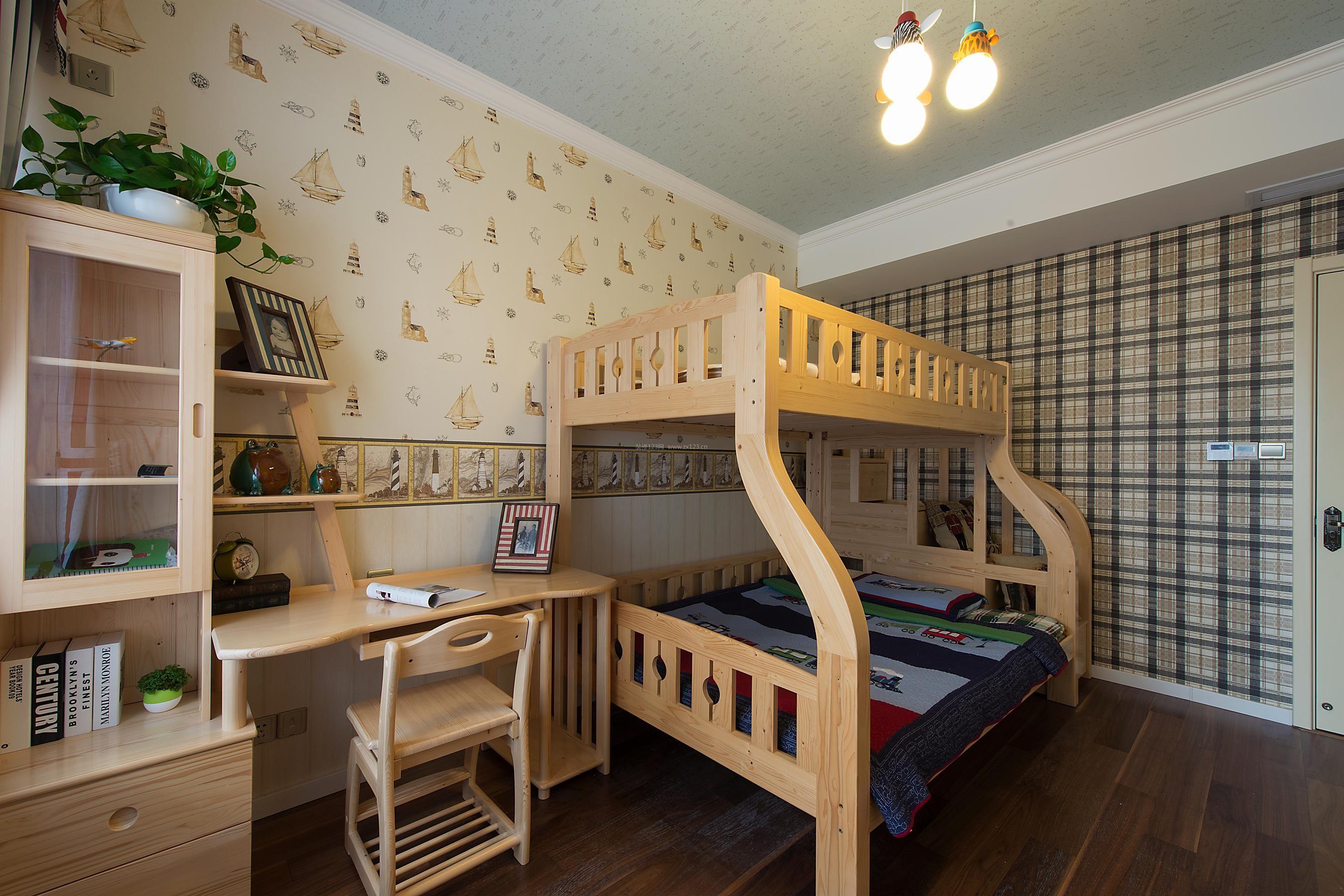 美式乡村风格家装儿童房高低床装修效果图图片
