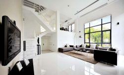 現代風格復式樓簡約客廳黑白裝飾