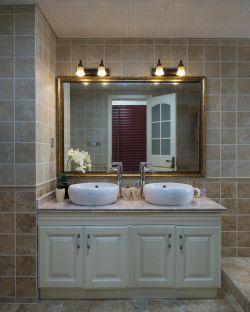 美式乡村风格家庭卫生间洗脸池装修效果图片
