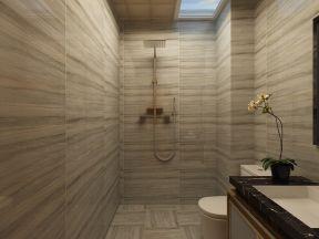 新中式卫生间装修效果图 浴室玻璃隔断效果图