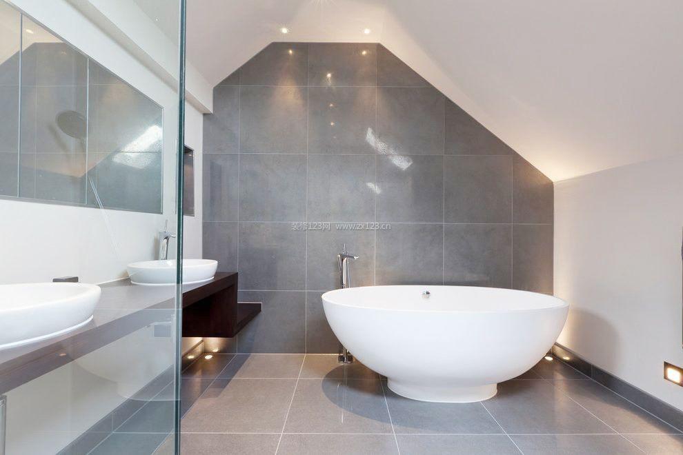 欧式卫生间圆形小浴缸效果图