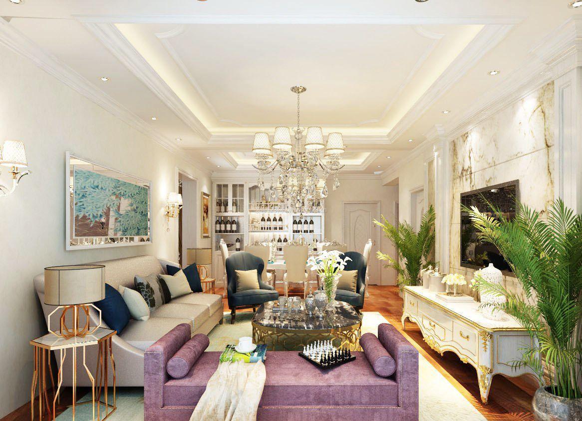 纯欧式客厅硅藻泥背景墙装修效果图片