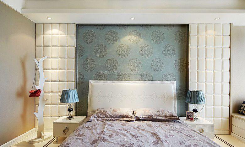 新欧式卧室硅藻泥背景墙装修效果图片