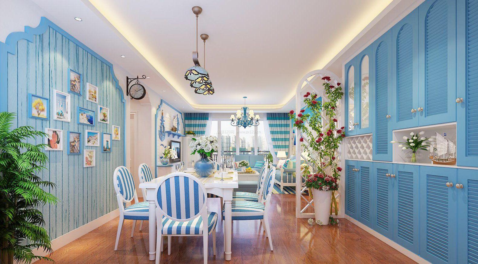 地中海风格室内墙壁柜装饰装修效果图