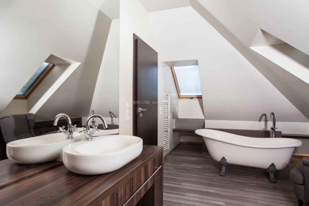 顶层斜顶阁楼浴室装修装潢效果图图片